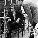 Dylan with Tom Wilson, the producer for the first two days of the Highway 61 sessions, Columbia Studio A, New York City, 15 or 16 June 1965.