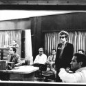 In the control room, probably listening to a playback of Like A Rolling Stone, 16 June 1965. On the far right is organist, Al Kooper.