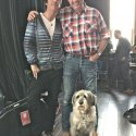 Johnny Johnny Marr's historic encounter with Buster, during filming for The One Show, Salford, 26 May 2015.